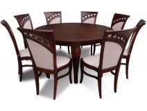 Ekskluzywny komplet ze stołem okrągłym Warkocz II oraz  krzesłami włoskimi Diamenty