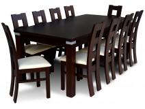 Stylowy komplet Dark & White, stół z krzesłami B39