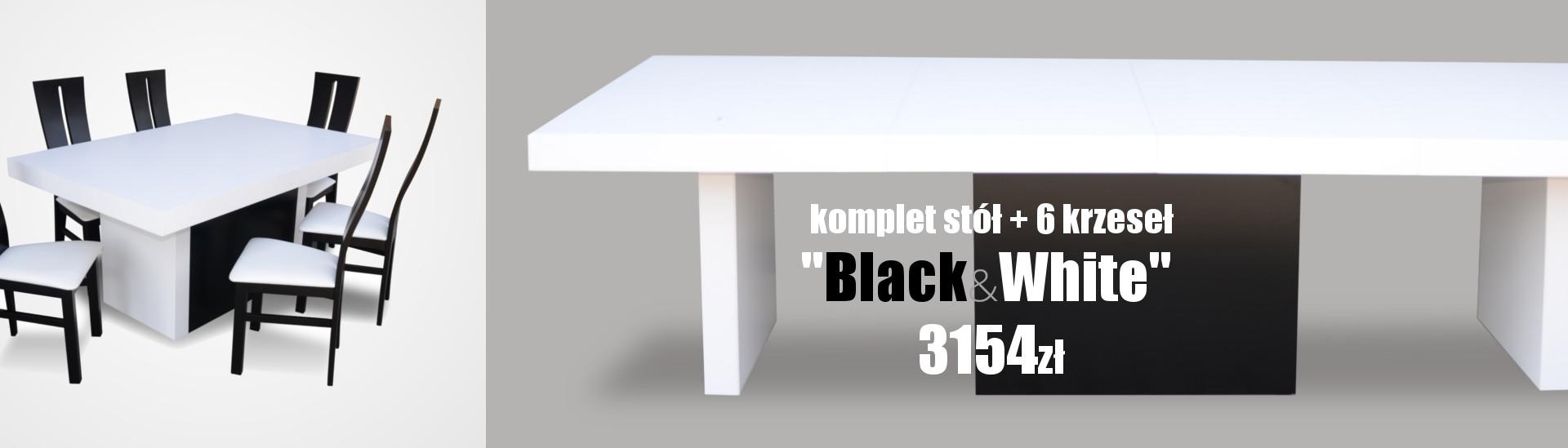 Stół Black-White + 6 krzeseł RMK71