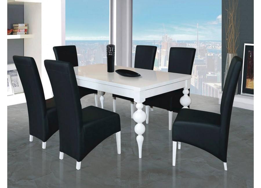 Zestaw Włoski Design Biały Stół Fresco I Krzesła Tapicerowane B38