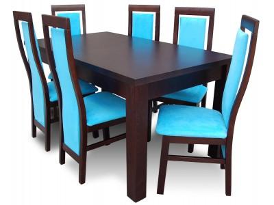 Stół rozkładany 90x160x215 + krzesła drewniane HIGH RK55 BLU