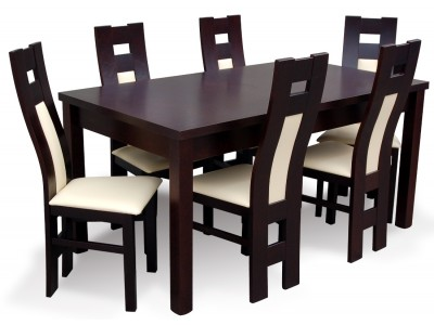 Komplet do salonu z krzeslami drewnianymi Profil