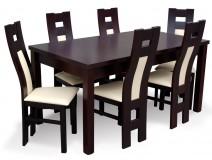 Komplet do salonu z krzesłami drewnianymi Profil