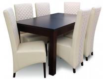 Tapicerowane Krzesła Krata + rozkładany stół drewniany RMS18-S