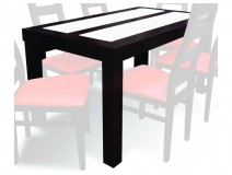 Stół z białymi szybami 80x140cm, Wenge, 1 sztuka, TRANSPORT GRATIS
