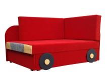 Czerwony tapczan dziecięcy AUTO 78cm x 107/170cm