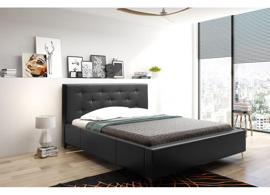 Łóżko tapicerowane do sypialni z pikowanym wezgłowiem ...