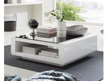Designerska ława w białym połysku z czarnym szkłem ORINO kwadrat