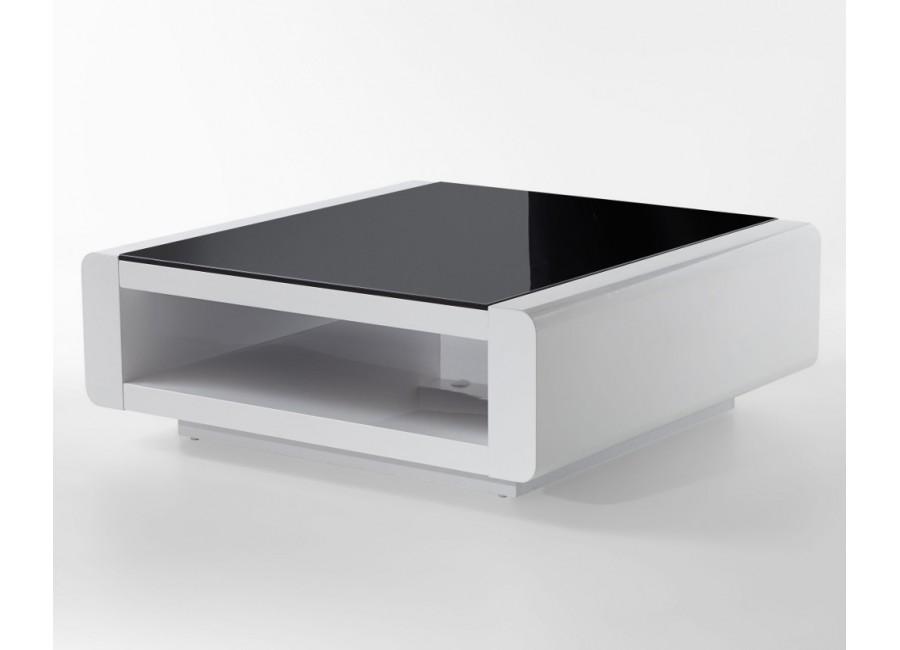 Zaawansowane Designerska ława w białym połysku z czarnym szkłem ORINO kwadrat KY53