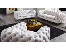 Chesterfield Premium White - ekskluzywny zestaw wypoczynkowy 3+2+1