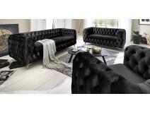 Chesterfield Premium Black - pikowane meble do salonu 3-2-1