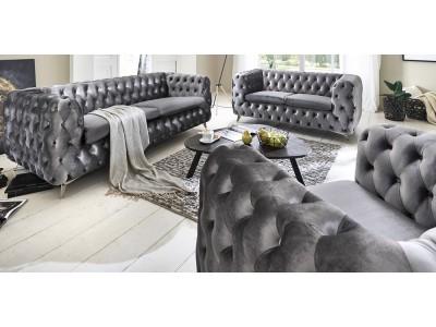 Chesterfield Premium GRAY - szare meble wypoczynkowe do salonu 3+2+1