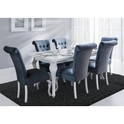 Meble do jadalni w białym połysku, stół ludwik K + 6 krzeseł STB56G