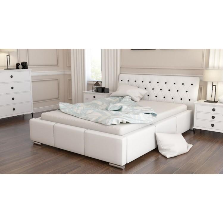 Mila AT11 łóżko do sypialni z pikowanym wezgłowiem