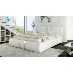 Mila AT13 łóżko do sypialni z tapicerowanym wezgłowiem