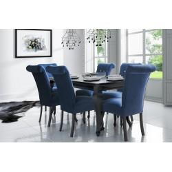 Black Refined & Style Czarny stół LUDWIK K + 6 Czarnych Krzeseł STB56K