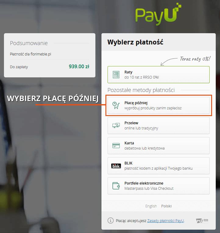 Wybór płatności Płace Później z PayU Florimeble