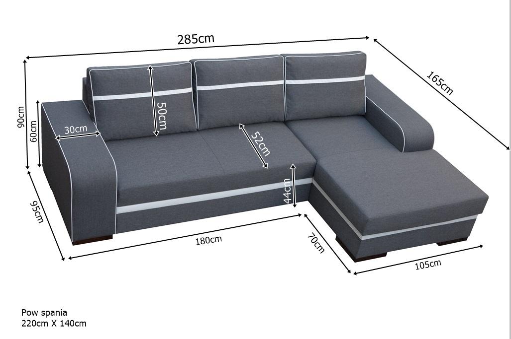 Nowoczesny naro nik do salonu z funkcj spania finni for Medidas sofa cheslong