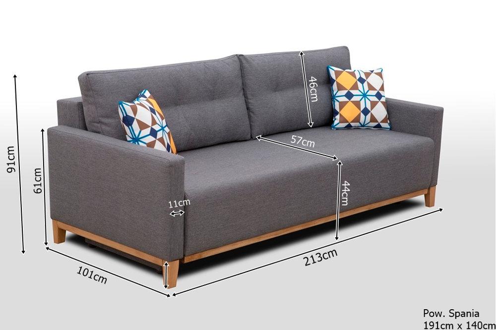 Wymiary sofy w stylu skandynawskim SKANDEA