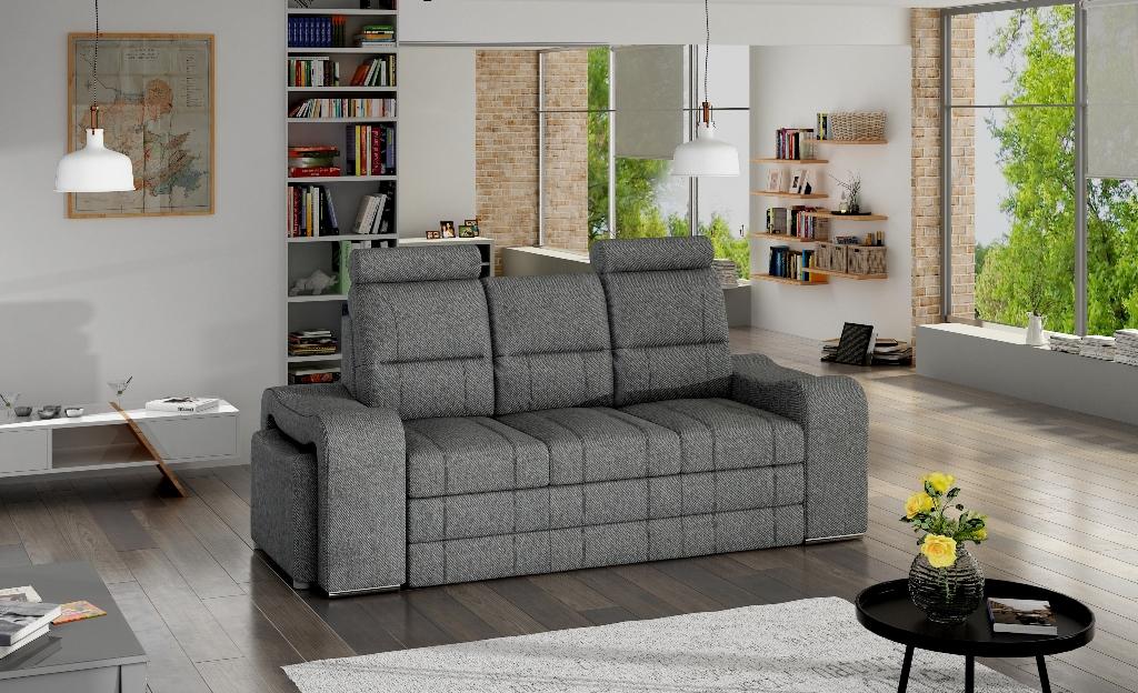 Szara sofa do salonu Wines w tkaninie INARI 94