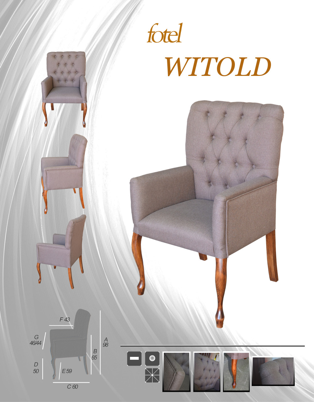 Fotel pikowany Witold styl Chesterfield