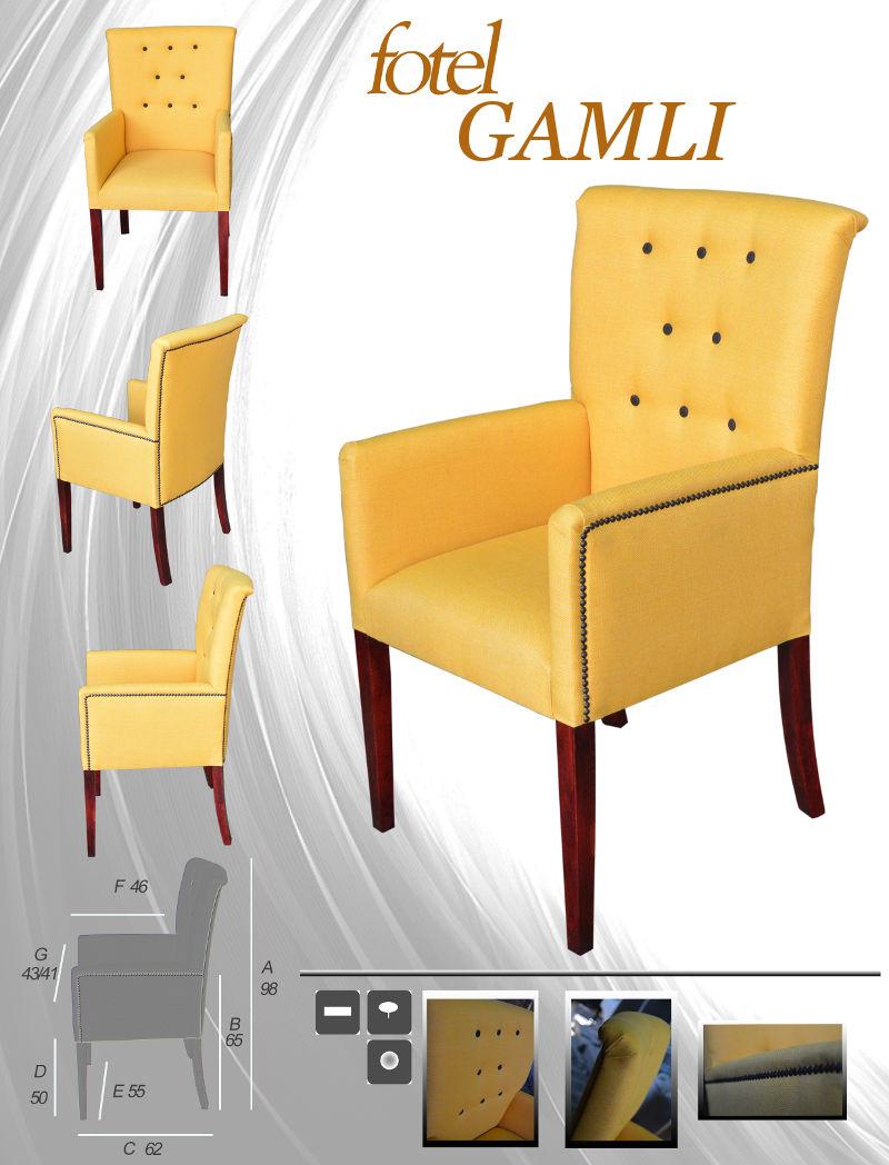 Fotel pikowany z podłokietnikami Gamli