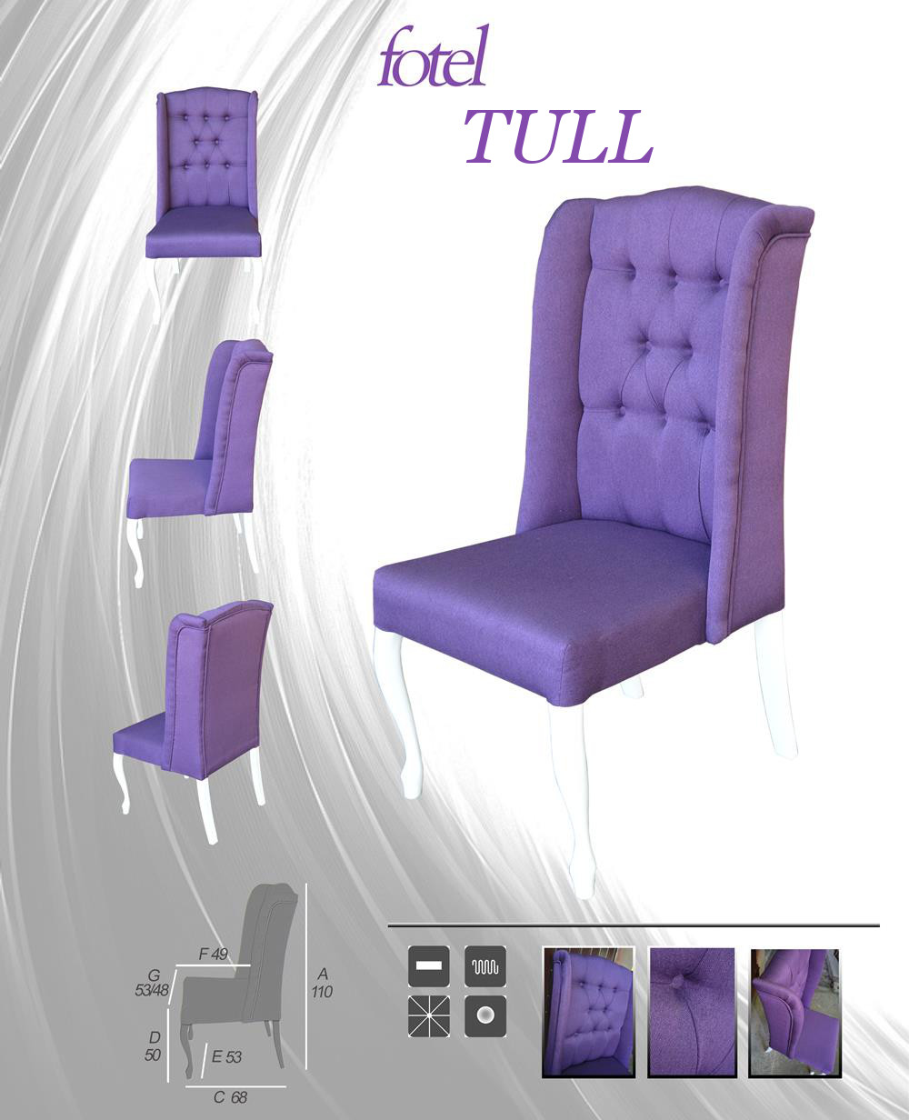 Krzesło - Fotel Uszak Chesterfield Tul