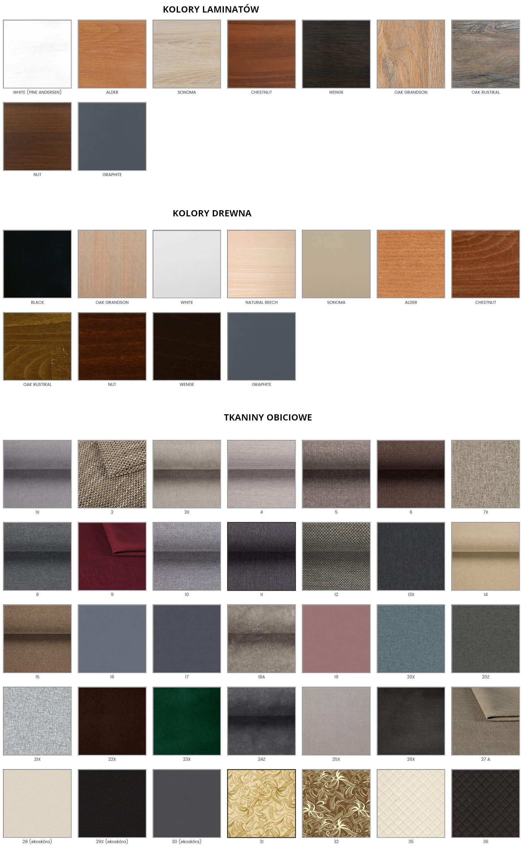 tkaniny i kolory drewna